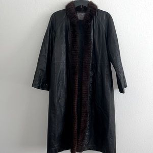 Vintage cow leather coat with fur